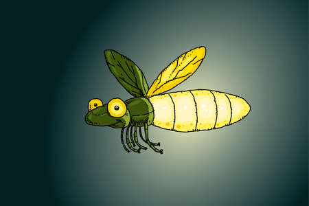 A cartoon firefly flies while lit up at night