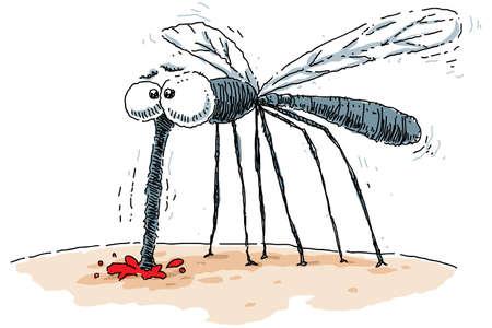 A cartoon mosquito sucks blood from a bite  Reklamní fotografie
