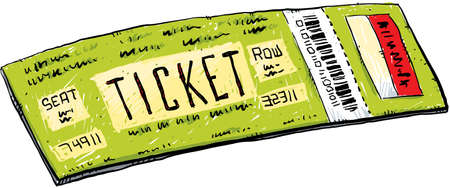 A cartoon ticket with barcode