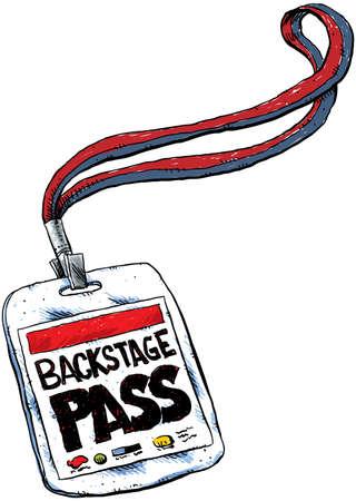 A cartoon backstage pass on a lanyard