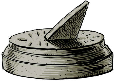 reloj de sol: Una caricatura de una, decir la hora reloj de sol Foto de archivo