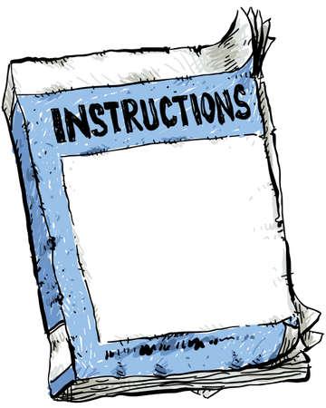 A cartoon of a worn out instruction booklet  Zdjęcie Seryjne