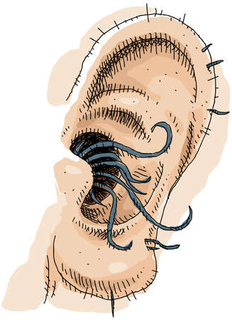 A close up cartoon of gross, long ear hair
