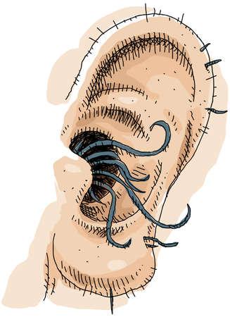 disgusting: A close up cartoon of gross, long ear hair