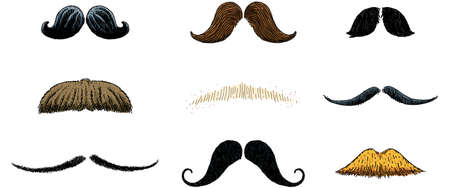 A collection of cartoon mustaches