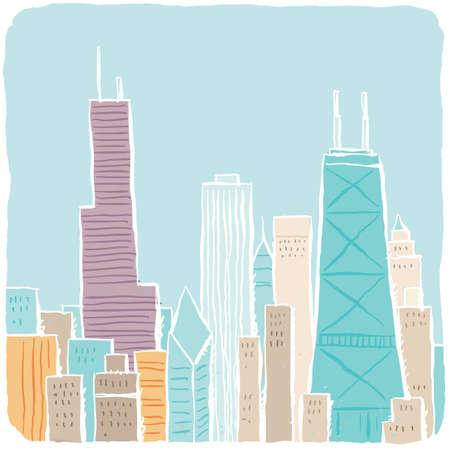chicago: A light, loose cartoon of Chicago, USA