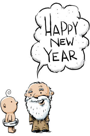 A cartoon wise old year greets the baby new year