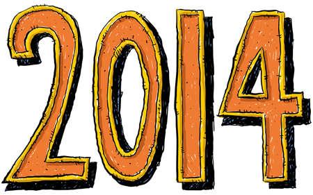 Cartoon numbers of the year 2014  Фото со стока