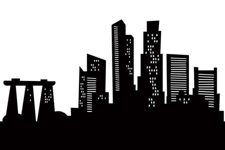 Cartoon skyline silhouette of the city of Singapore  Banque d'images