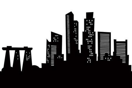 Skyline cartoon silhouet van de stad Singapore Stockfoto