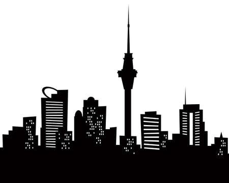 都市のオークランド, 新しいニュージーランドの漫画スカイライン シルエット 写真素材 - 24476582