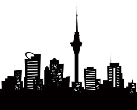 Cartoon skyline silhouette of the city of Auckland, New Zealand  Stock Photo