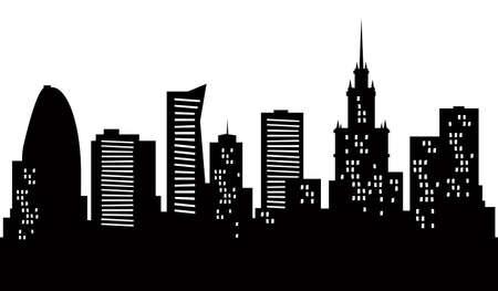 Cartoon skyline silhouette of the city of Warsaw, Poland  Reklamní fotografie