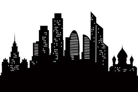 Cartoon skyline silhouette of the city of Moscow, Russia
