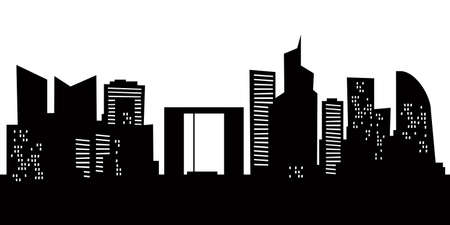 city building: Cartoon skyline silhouette of La Defense district of the city of Paris, France