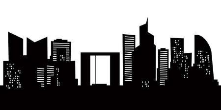 Cartoon skyline silhouette of La Defense district of the city of Paris, France