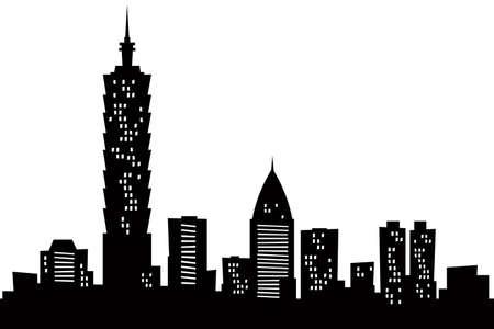台北、台湾の都市の漫画スカイライン シルエット 写真素材