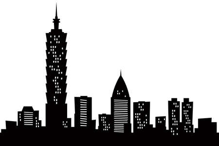 city panorama: Cartoon skyline silhouette of the city of Taipei, Taiwan