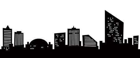 new jersey: Cartoon skyline silhouette of the city of Atlantic City, New Jersey, USA