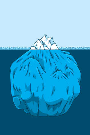 below: Cartoon iceberg cross-section showing the portion below the waterline