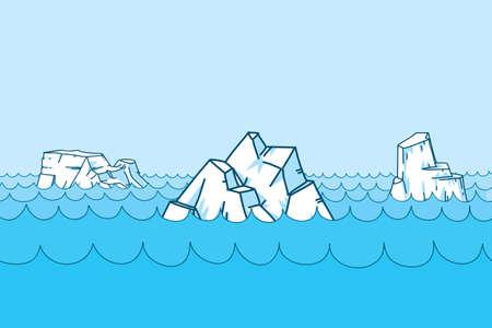Cartoon icebergs, floating on the ocean