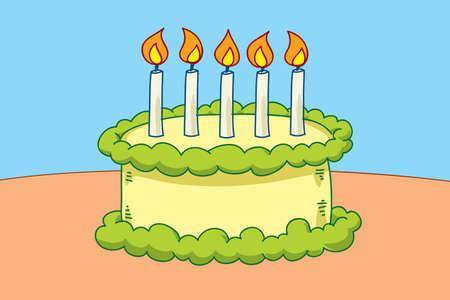 キャンドルとバースデー ケーキ