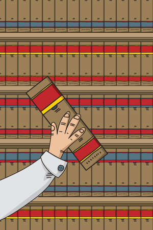 A cartoon hand holding a book in front of a bookcase