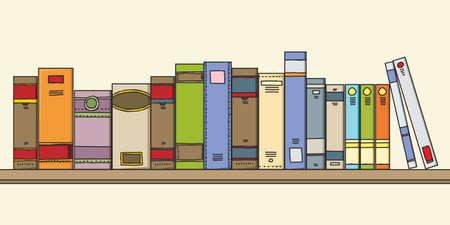 Geassorteerde cartoon boeken zittend op een plank Stockfoto