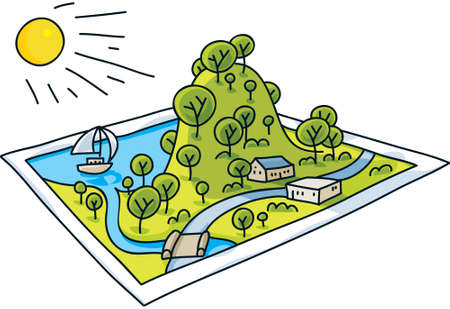 postcard: A cartoon landscape rises from a postcard
