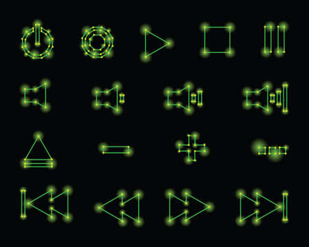 fast forward: Media player control button icons in a retro, 1980s vector style