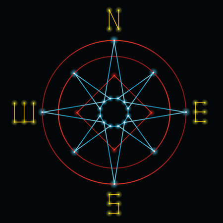 A compass created in a retro 1980s vector graphics style