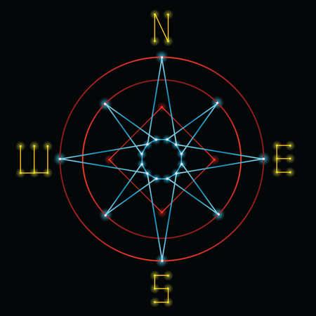 Een kompas gemaakt in een retro jaren 1980 vector graphics stijl