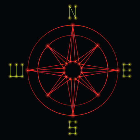 1980 年代のレトロなベクトル グラフィック スタイルで作成したコンパス