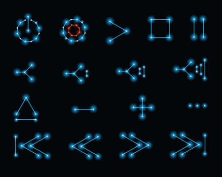 Media player control button icons in a retro, 1980s vector style