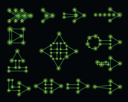 Media player control button icons in a retro, 1980s vector style.
