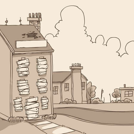 vacant: A cartoon of a boarded up, abandoned building.