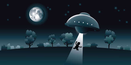abduct: Aliens abduct a human at night, under the light of the moon. Illustration
