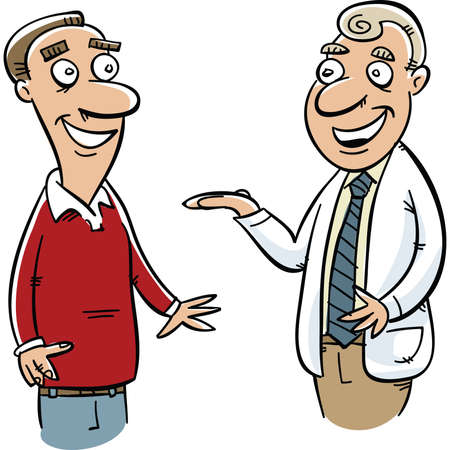 consulta médica: Un hombre de dibujos animados recibió los consejos de su médico en una cita.