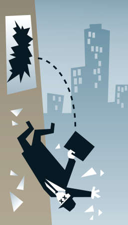 secret agent: A secret agent falls from a smashed window in the city. Illustration