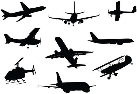 silhouettes: A collection of a variety of aircraft silhouettes. Illustration