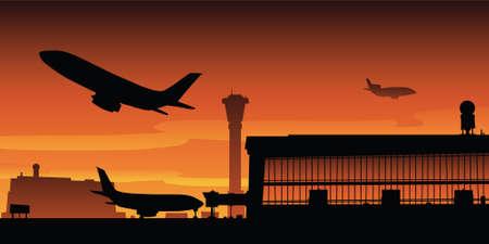 ジェット旅客機は空港で滑走路から離陸します。  イラスト・ベクター素材