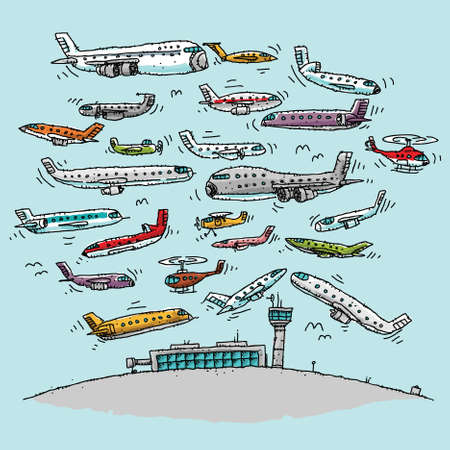Cartoon aircraft crowd the airspace at a busy airport.