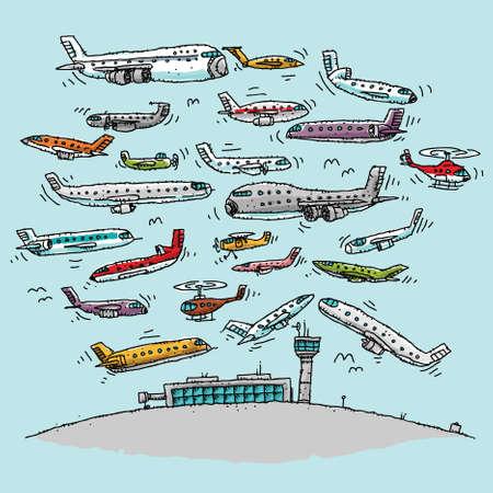 Vliegtuigen Menigte van het beeldverhaal het luchtruim op een drukke luchthaven. Stock Illustratie