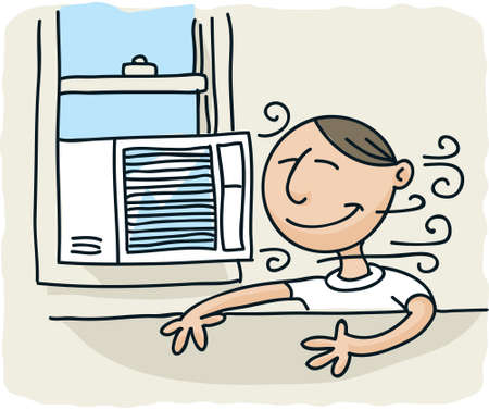 air conditioner: A cartoon man enjoys the breeze from a window air conditioner.