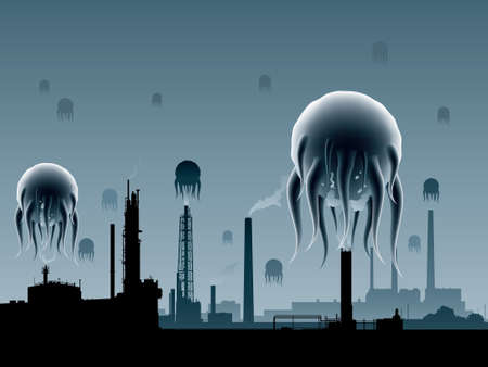 invading: Alien creatures invading an industrial area.