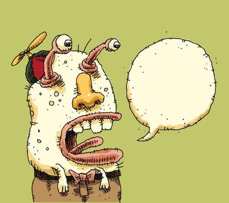 talking: A funny cartoon alien talking with a blank speech bubble. Illustration