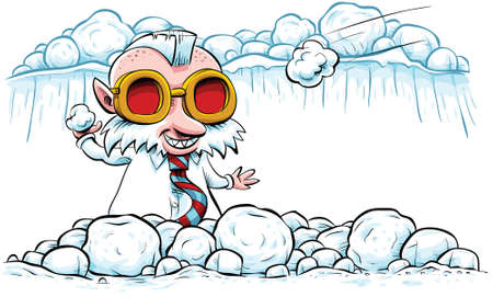 A hipster, business elf gets ready to throw a snowball. Ilustrace