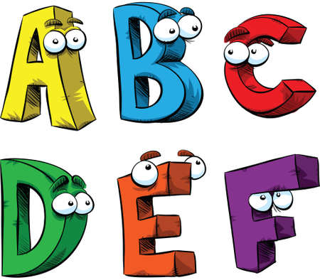 with humor: Letters A-F of the alphabet as friendly cartoon characters.