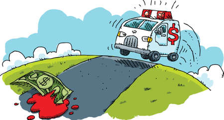 response: An ambulance races to rescue and injured bill of cash money. Illustration