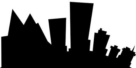 business district: Cartoon skyline silhouette of the city of Anchorage, Alaska, USA.